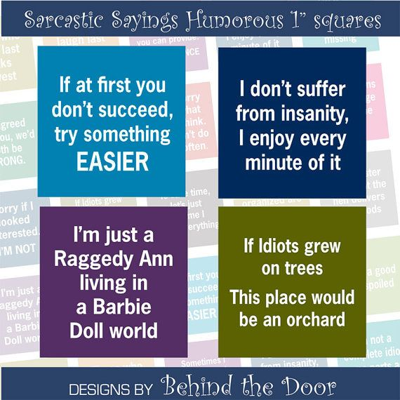 Sarcastic Sayings Humorous  1  inch square images by BehindTheDoor, $3.95