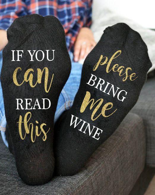 Wine socks Custom wine socks If you can read this bring me wine Socks Gold socks  | eBay