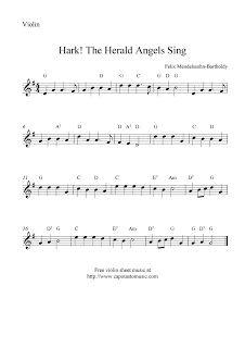 Hark! The Herald Angels Sing, free Christmas violin sheet music