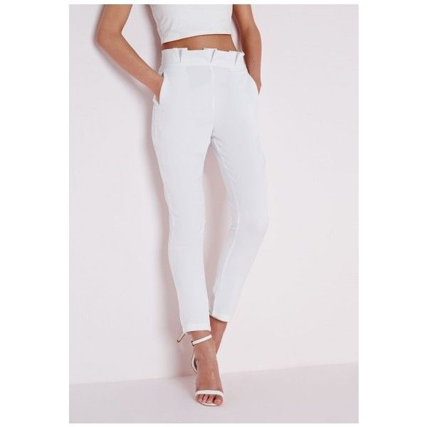 Pleated Waist Cigarette Trousers White ($2.49) ❤ liked on Polyvore featuring pants, white cigarette trousers, white cigarette pants, cigarette pants, white pants and white trousers