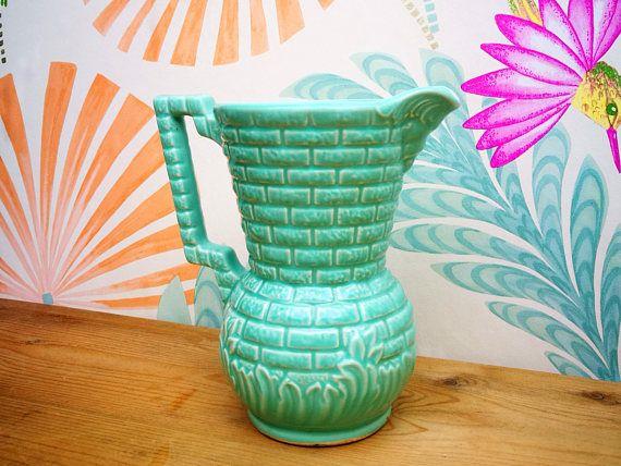 Dartmouth pottery jug . Dartmouth pottery vase . Garden Wall jug . Brick wall jug . Vintage English pottery . Studio pottery milk jug