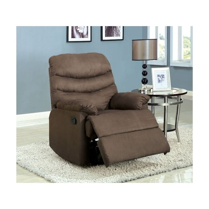 Benzara Plesant Valley Light Brown Microfiber Transitional Recliner Chair, Size Standard (Polyester)
