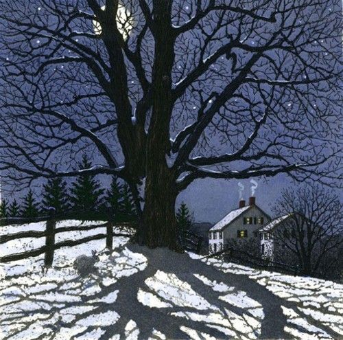 LOVE THIS!!!  It has all my favorite things, tree sillohette, house windows, twilight, moon and stars. Mark Donaldson linocut