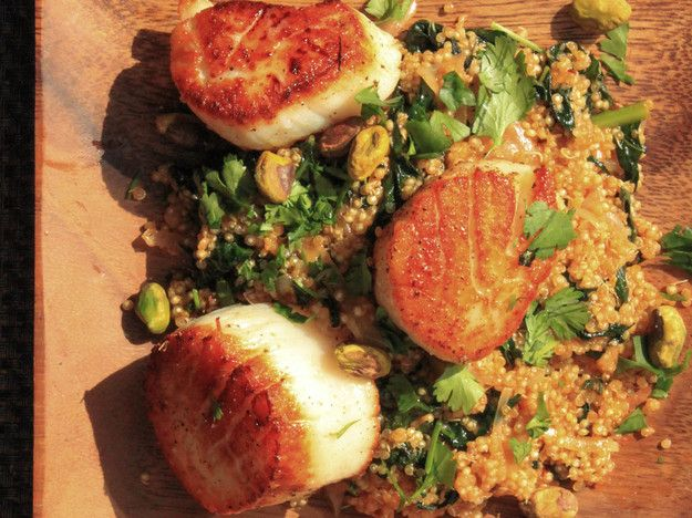 Scallops With Spicy Quinoa, Kale, and Pistachios #recipe
