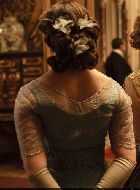 This hairstyle of Lady Sybil's is one that is unique and elegant.