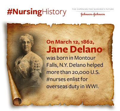 On March 12, 1862, Jane Delano was born in Montour Falls, N.Y. Delano helped more than 20,000 U.S. #nurses enlist in overseas duty in WWI through the Red Cross. She served three terms as president of the @americannurses and was a former president of the Board of Directors of the @amjnurs.  https://www.facebook.com/jnjnursingnotes/photos/a.375515137804.165800.353356487804/10152639782257805/?type=1&theater
