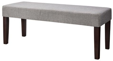 We've got a bench similar to this one in front of our bed. It softens up the feel of the room if you have a heavy headboard. Threshold® ThresholdTM Bench - Gray Textured Weave http://api.shopstyle.com/action/apiVisitRetailer?id=462527799&pid=uid4249-32956557-67