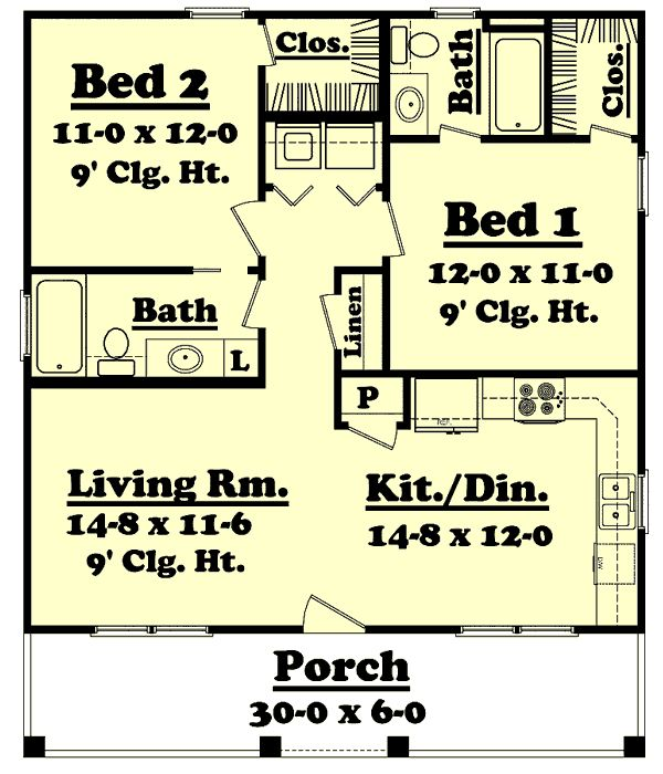 country style house plans 900 square foot home 1 story 2 bedroom and - Small Cottage Plans 2