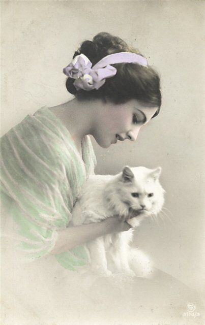 A gorgeous hand tinted Edwardian image of a young lady and a white cat. #pets #vintage #postcard