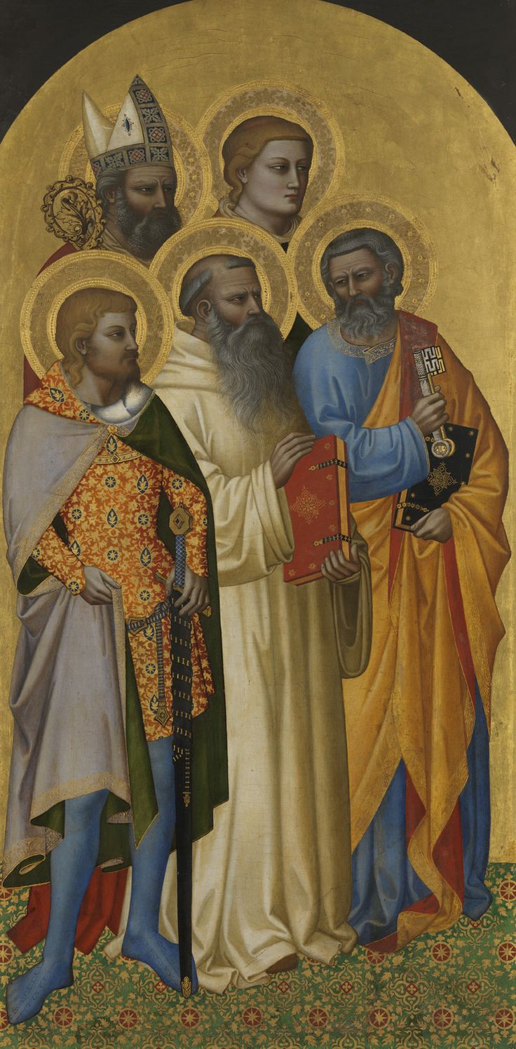 http://www.pinakothek.de/sites/default/files/gemaelde/original/4a_waf1027_2013_0.jpg  Nardo di Cione. Saints Peter, Benedict, Julian, Laurentius and Zenobius (?), ca. 1365 Alte Pinakothek, Inv. WAF 1027
