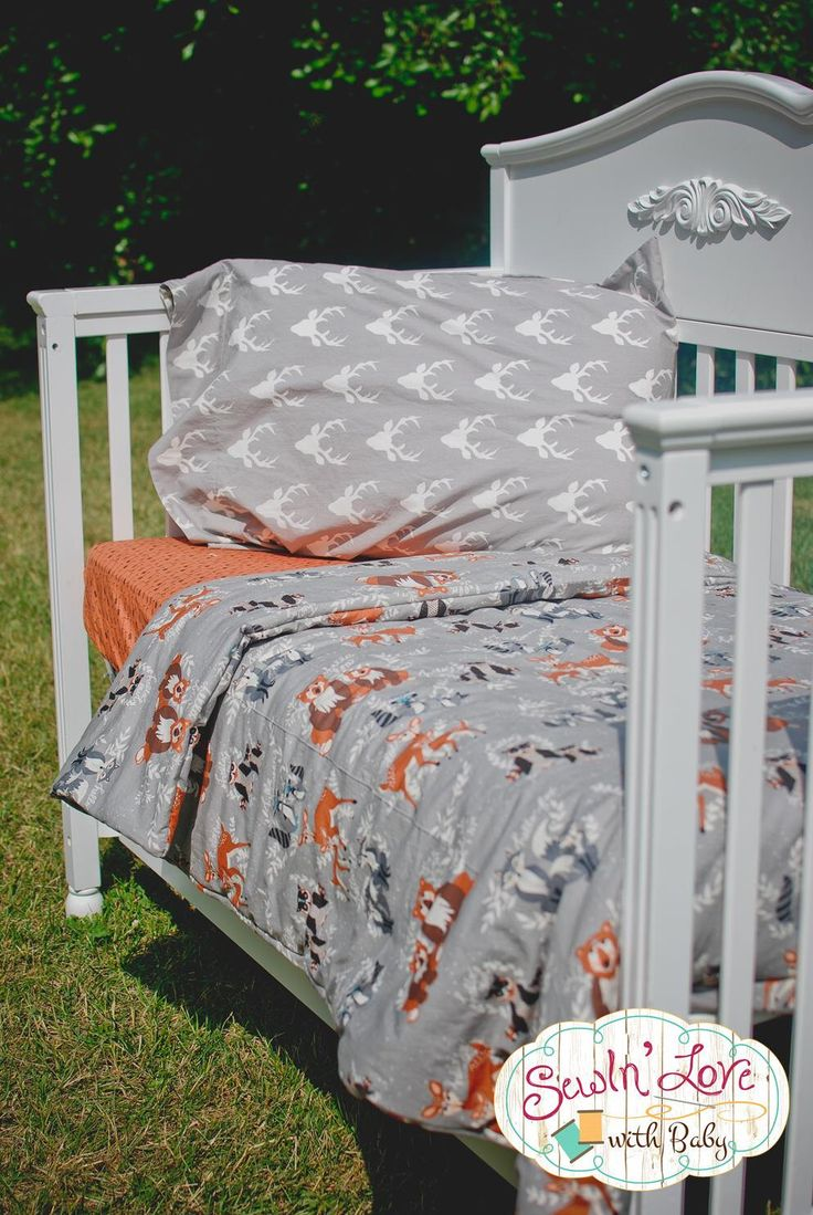 Toddler Woodland Creature Custom Bedding - Toddler Sheet - Toddler Comforter - Woodland Comforter - Antler Bedding - Arrow Bedding by SewInLoveWithBaby on Etsy https://www.etsy.com/listing/236396385/toddler-woodland-creature-custom-bedding