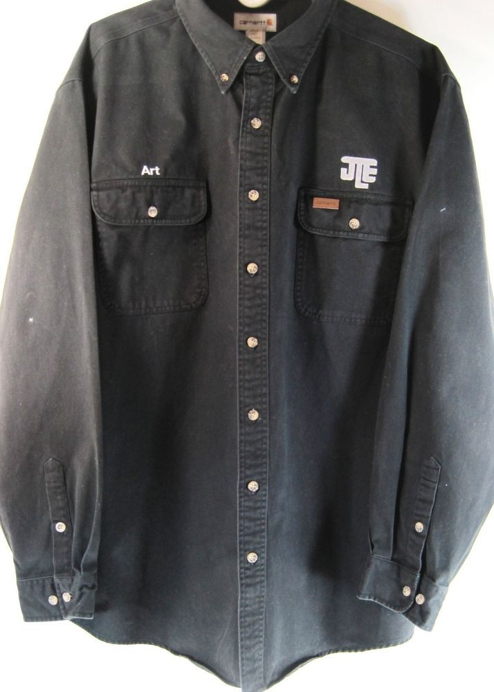 Carhartt Men L/S Work Shirt Size XL Black Button-Up 100% Cotton.  EAE 55 #Carhartt #Work