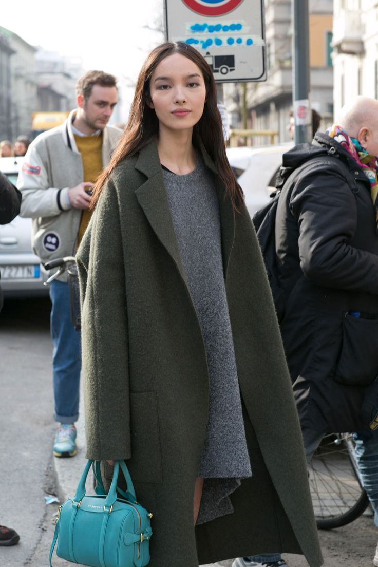 #FeiFeiSun #offduty in Milan. Green & grey