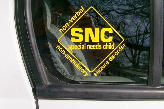 Special Needs Child car window sticker. Must get this for our car.