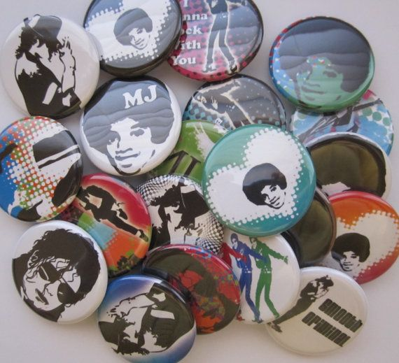 set of 20 1.25 Michael Jackson inch buttons pinback by cutebutton