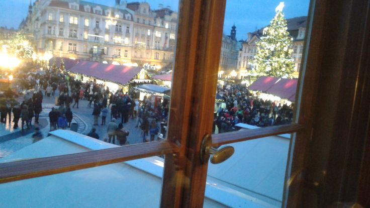 view on the Christmas Market from Grand hotel Praha windows