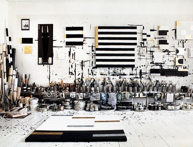so freaking rad.: Artists Studios, Studios Spaces, Art Studios, Black And White, Idha Lindhag, Black White, Painting, Design Studios, Tenka Gammelgaard