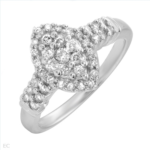 Stunning Brand New Ring With 0.50ctw Genuine  Clean Diamonds Made of 14K White Gold- Size 7 We Can Resize from 6 to 8 - Certificate Available.