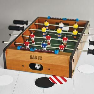 Personalised Table Top Football Game - This Father's Day, treat Dad to something he really wants — everlasting memories with you. invite Dad to the sporting event of the season — a night in with your favourite team, Britain's finest snacks and unique tipple or two.