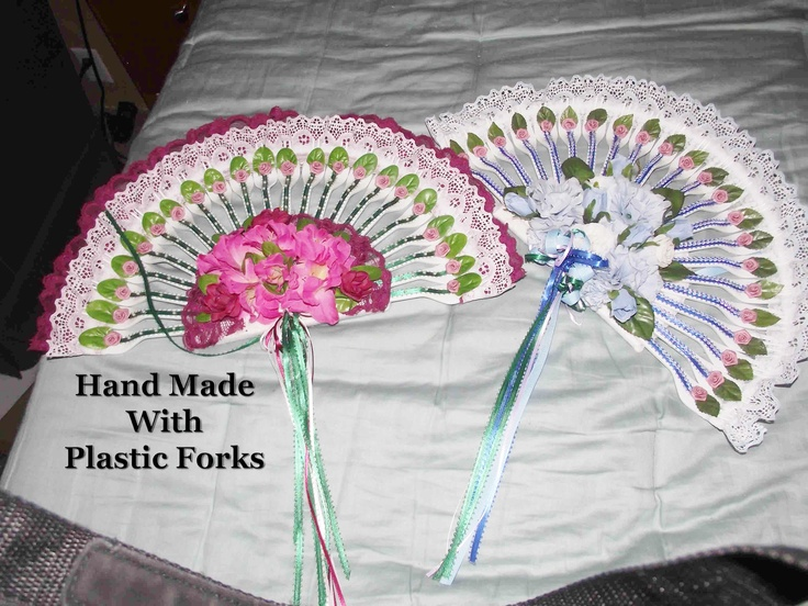 Decorative fans made with plastic forks products i love for Crafts with plastic spoons and forks
