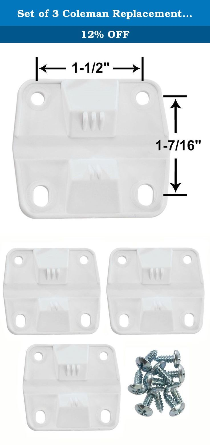 Set of 3 Coleman Replacement Hinges and Screws. Coleman Replacement Cooler Hinges Screws - Set of 3 - 5256-1851. Color: White, 3 Plastic Hinges and 12 Metal Screws Included, Hinge Size: 2 x 2.25, For use on the following coleman cooler models: 5254d 5255d 5227b 5240 5241 5241a 5245 5848 5896 5850 5250 5278 5293 5298 5299a 6200 6240 6250 6251 6260 6262 6263 6270 6273 6286.