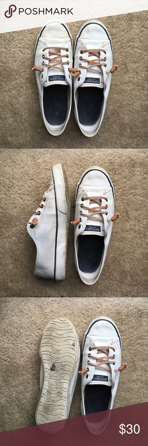SPERRY CANVAS SHOES USED. Worn this April-July. These pictures as AS IS. These have never been cleaned. If you buy, I will clean and sanitize them! They are adorable and have a lot of life left in them. Sperry Top-Sider Shoes Sneakers