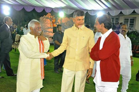 Participated in dinner hosted by Shri E.S.L.Narsimhan, Hon'ble Governor for the states of Telangana & Aandhra Pradesh in honour of His Excellency Shri Pranab Mukherjee, Hon'ble President of India on Tuesday 27th December, 2016 at Raj Bhavan, Hyderabad along with Shri Kalvakuntla Chandrashekar Rao, Hon'ble Chief Minister, Govt of Telangana, Shri Nara Chandrababu Naidu, Hon'ble Chief Minister, Govt. of Andhra Pradesh and other dignitaries.