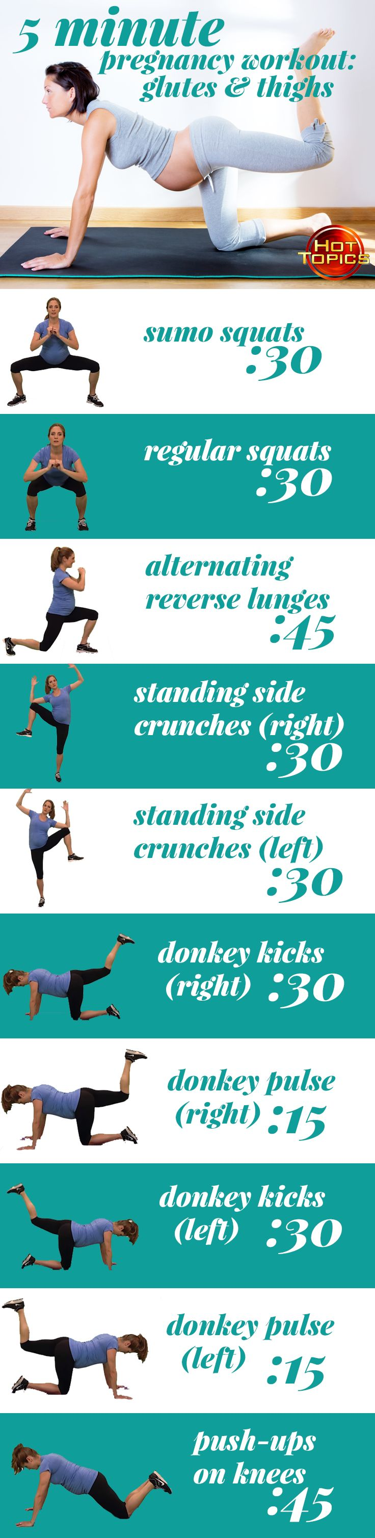 This five-minute pregnancy workout from @hcat will help shape up your glutes and thighs! #pregnancyworkout #hottopics
