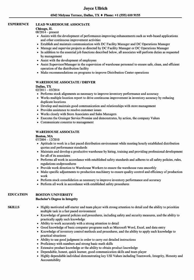 20 Stocker Job Description Resume in 2020 (With images