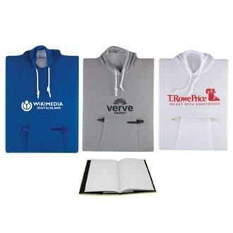 College Hoodie Notebook - Available in blue, grey and white