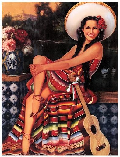 Mexican Calendar Girl.