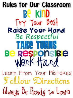 Loving this poster for classroom rules. The colors are perfect.