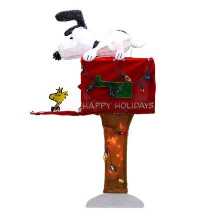 36 inch Pre-Lit Peanuts Snoopy with Red Mailbox Animated Christmas Yard Art Decoration - Clear Lights