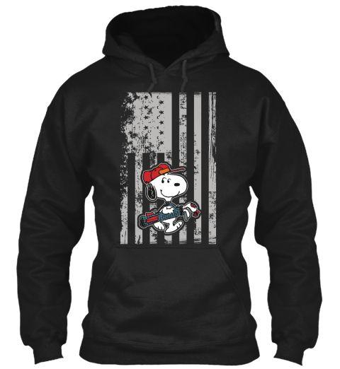 Snoopy   American Golf Player Black Sweatshirt Front