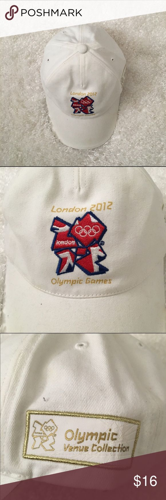 London 2012 Olympics white hat, cap, adj strap London 2012 Olympics white hat with adjustable strap.  Will be shipped in a poly envelope.  Stored in smoke and pet free household.   Please see pictures for details and ask any questions before buying to avoid return.  Check out my store for more items! Other