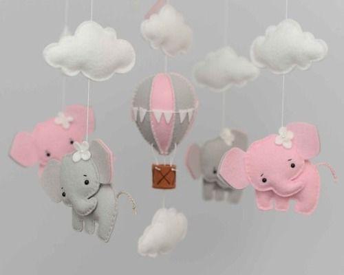 móbile de feltro elefante balão nuvens - escolha as cores!