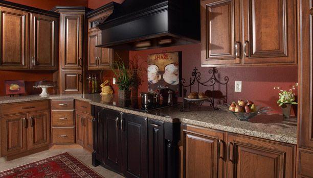 Cheap Granite Countertops Albany Ny : Wood: Cherry Stain / Glaze: Mocha / Ebony Range & Hood: Black ...