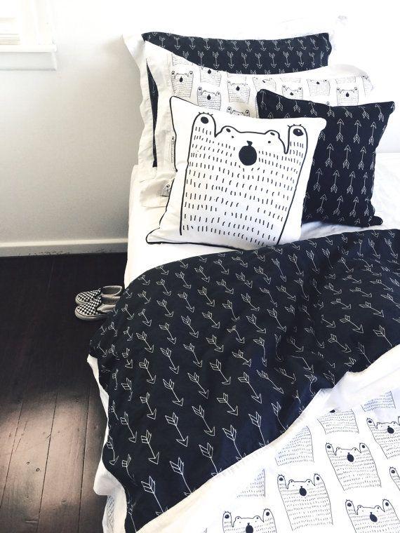Single bed duvet cover in Black Bear design by AlphabetMonkey