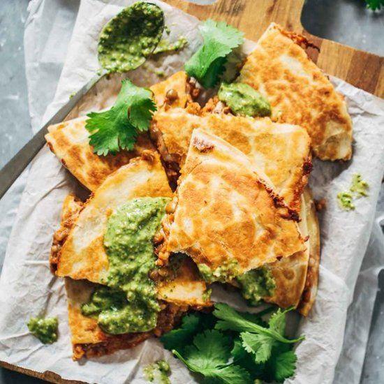 Quick and Easy Lentil Quesadillas.