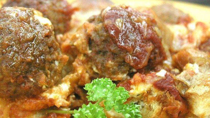 All the ingredients for a meatball sandwich are here, just assembled in a different manner.  This recipe is always a hit at our house.  We NEVER have any leftovers, it is so good!