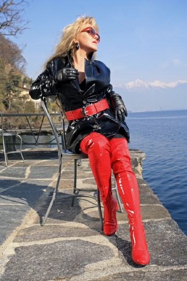 Long Red Patent Thigh Boots In The Style Of The 60s By