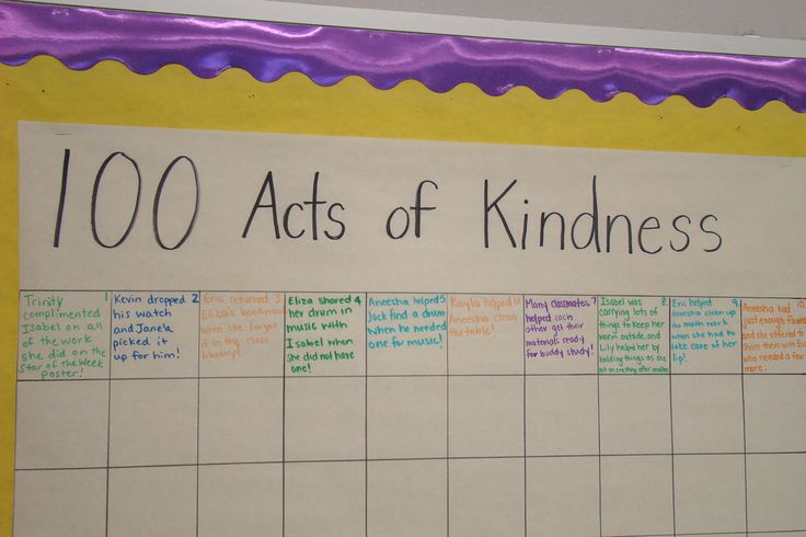 Second grade students in Meg Johnson's class at Rashkis Elementary recorded 100 acts of kindness on a classroom chart.