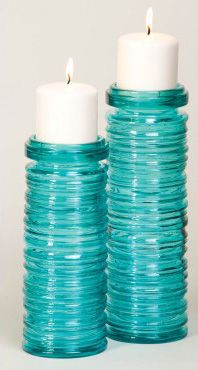 Recycled Glass Teal Candleholders - Set of 2 Beach Decor | Nautical Decor | Tropical Decor | Coastal Decor