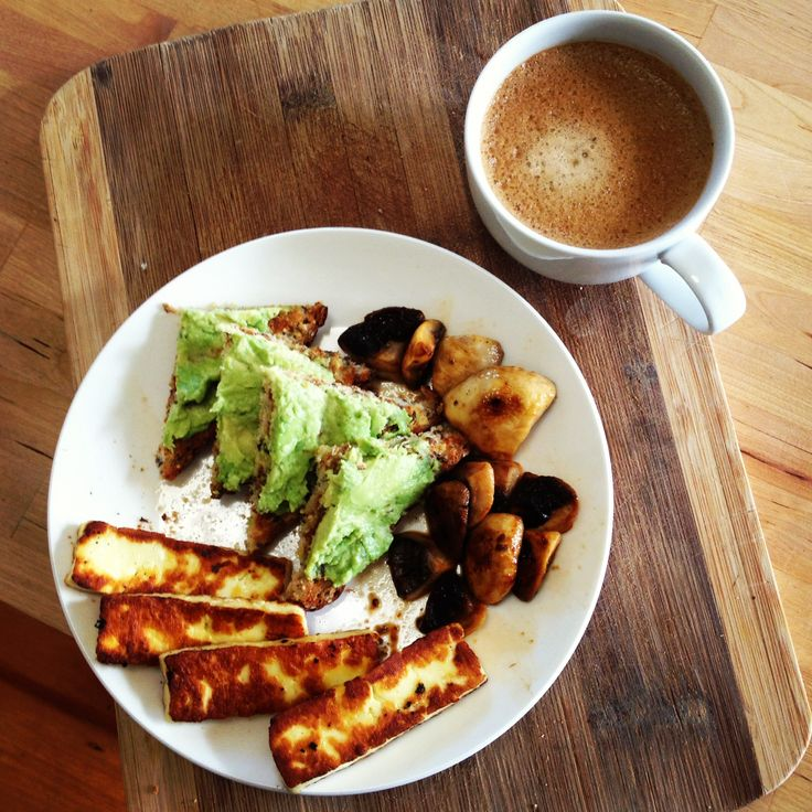 Haloumi and mushrooms for breakfast today! Plus a little bit of avocado on toast - yum!