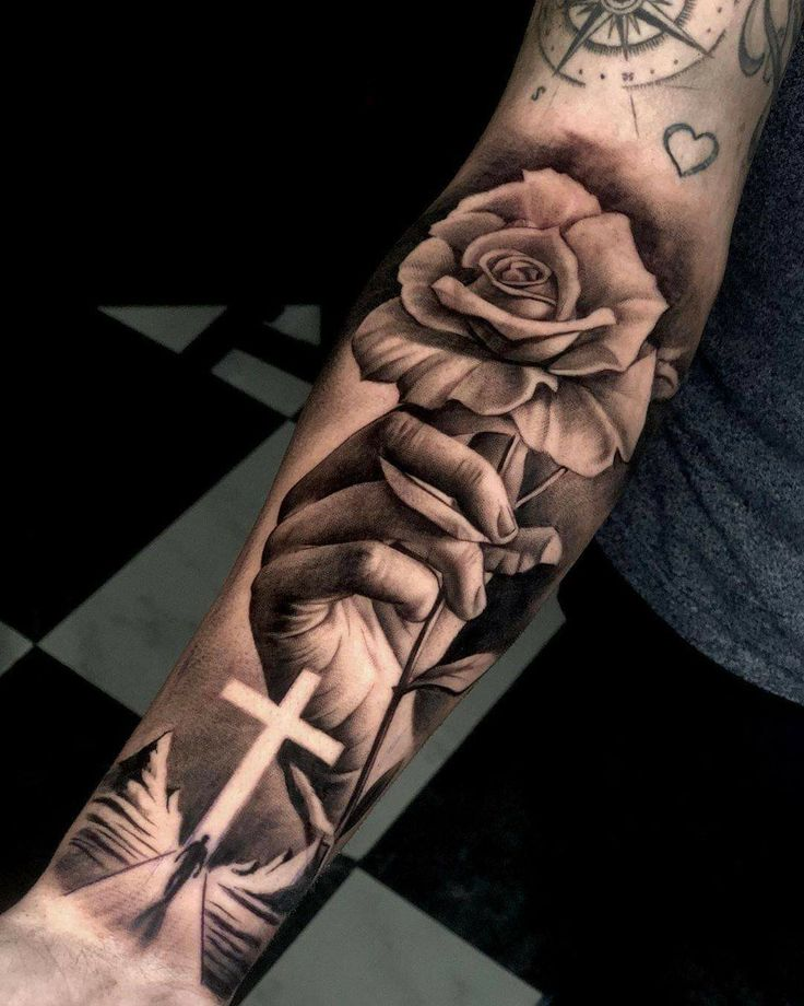 Half Sleeve Tattoos Forearm, Forarm Tattoos, Cool Forearm Tattoos, Best Sleeve Tattoos, Tattoo Sleeve Designs, Jesus Forearm Tattoo, Jesus Tattoo Sleeve, Rose Tattoos For Women, Hand Tattoos For Guys