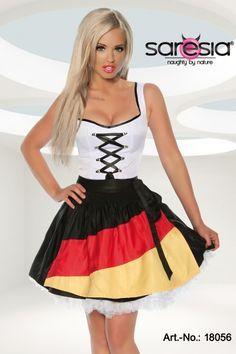 Dirndl mit Deutschland Flaggen-Schürze für Fußball EM - schönes Trikot Fan Kleid