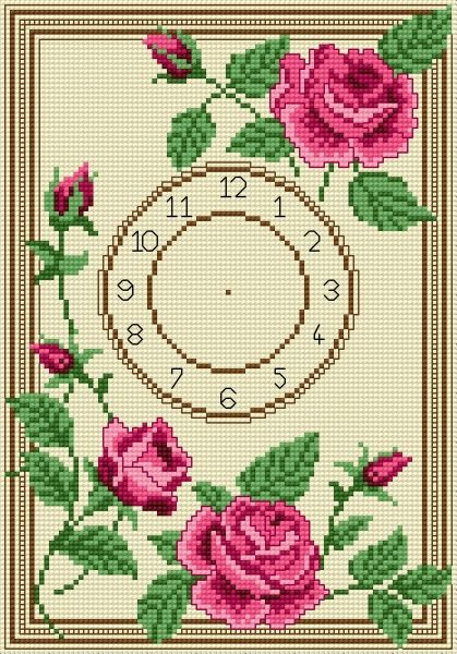 Clock with roses (flower, plant) cross-stitch