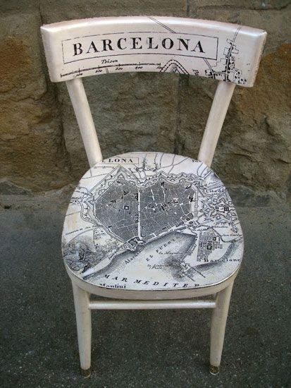 Wouldn't it be great to have a chair decorated to remember everywhere you've ever been! Wonderful upcycled dedicated to fabulous Barcelona.