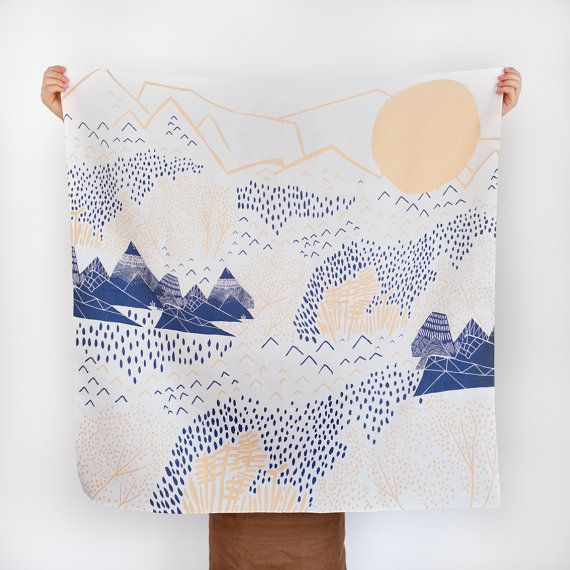 Mountain Blossom Furoshiki Japanese multi by thelinkcollective