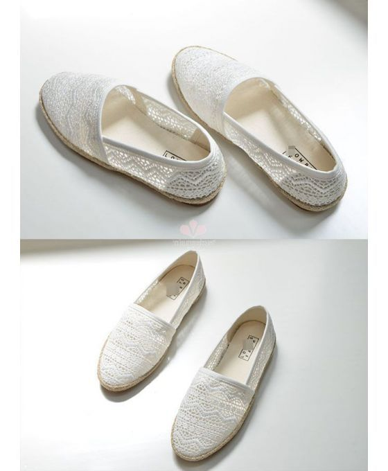 Lace espadrillas. Round toe Lace Rubber sole Wedding shoes